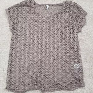 Vanity Women's Brown Lace Top/Blouse, Size Large.